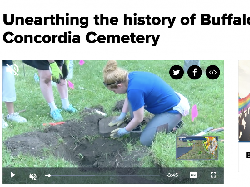 WKBW-TV Channel 7's Katie Morse spent hours with our volunteers as we dug up some valuable pieces of history at Historic Concordia Cemetery.