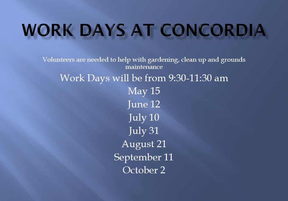 Work Day Schedule at Concordia